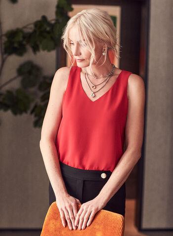 V-Neck Sleeveless Top, Red,  top, sleeveless, v-neck, layered, crepe, spring summer 2021