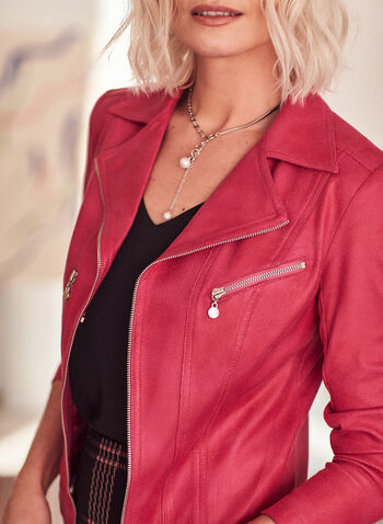 Vex - Zipper Detail Faux Leather Jacket, Pink,  jacket, faux leather, zipper, notch collar, long sleeve, shoulder pads, spring summer 2021