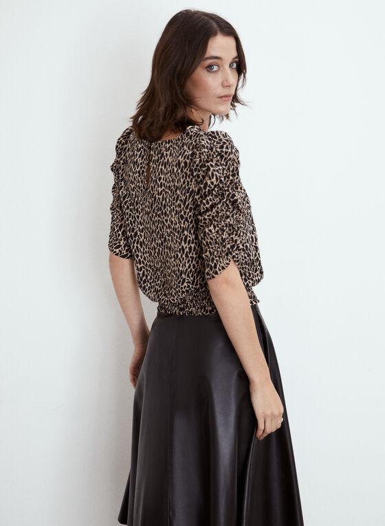 Animal Print Ruffle Sleeve Blouse, Brown