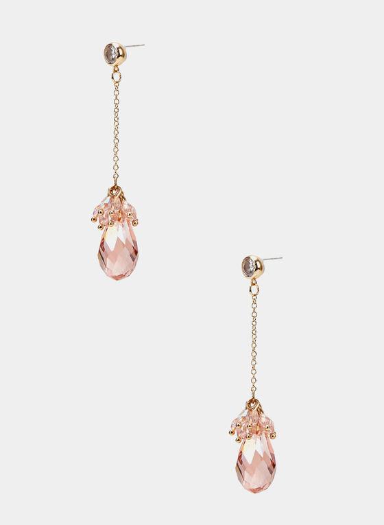 Pendant Dangle Earrings, Pink, hi-res