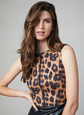 Joseph Ribkoff - Leopard Print Faux Leather Dress, Black,  day dress, animal print, vegan, fall 2019, winter 2019, sleeveless