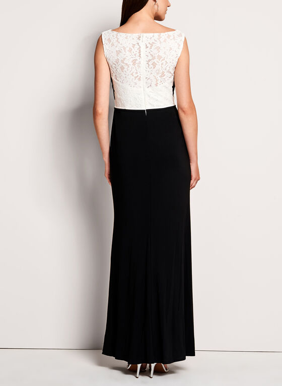 Beaded Lace Jersey Dress, Black, hi-res