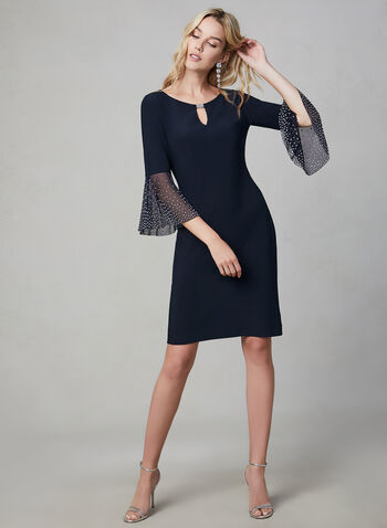 Cachet – Bell Sleeve Shift Dress, Blue,  jersey dress, cocktail dress