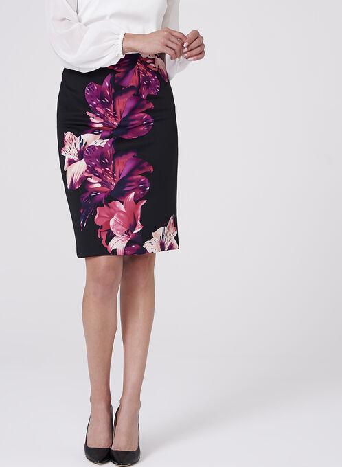 Floral Print Scuba Pencil Skirt , Black, hi-res