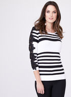 Alison Sheri - Crochet Detail Stripe Knit Cardigan , Black, hi-res
