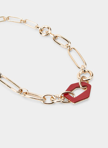 Chain & Abstract Shape Necklace, Red,  necklace, chain, abstract, spring summer 2020