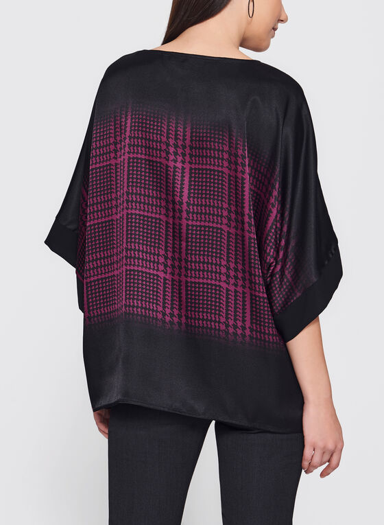 Floral Houndstooth Print Poncho Top, Red, hi-res