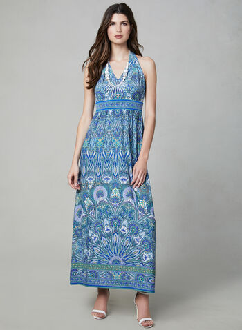 Mandala Print Maxi Dress, Blue, hi-res,  sleeveless, jersey, open back, empire waist, spring 2019, summer 2019