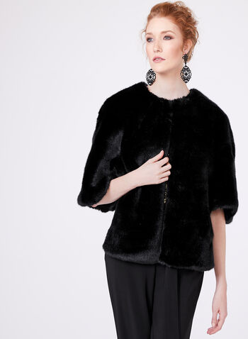 Adrianna Papell - Faux Fur Cape, Black, hi-res