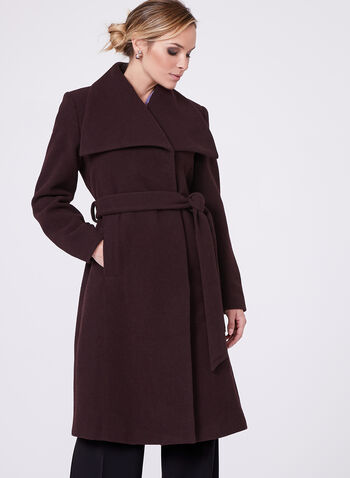 Hilary Radley - Belted Wool Blend Coat , Red, hi-res