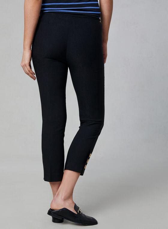 Pull-On Button Detail Capri Pants, Black, hi-res