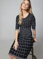 Plaid Sweater Knit Dress, Black