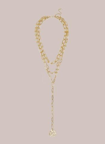 Collier multirang à pendentif disque, Or,  automne hiver 2020, collier, chaîne, multirang, pendentif, disque, bijou, accessoire