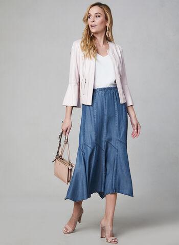 Linea Domani - Gored Maxi Skirt, Blue,  pull-on, denim, summer 2019
