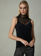 Joseph Ribkoff - Sleeveless Lace Neck Top, Black, hi-res