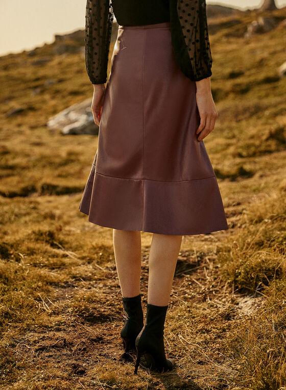 Vegan Leather Skirt, Red