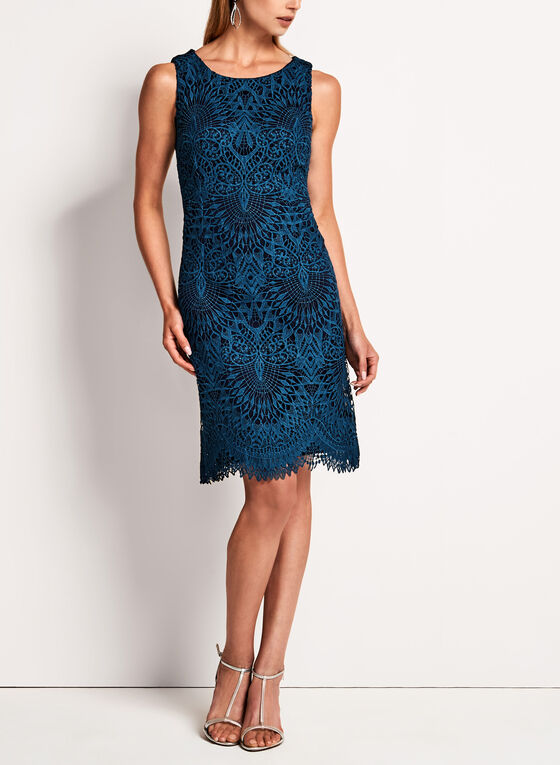 Scallop Lace Sheath Dress, Blue, hi-res