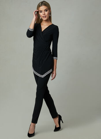 Joseph Ribkoff - Faux Wrap Jersey Top, Black, hi-res