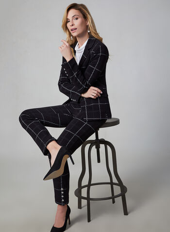 Window Pane Print Blazer, Black,  grid, plaid, long sleeves, knit, notch collar, fall 2019, winter 2019