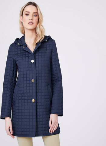 Ellen Tracy - Quilted Waterproof Jacket, Blue, hi-res