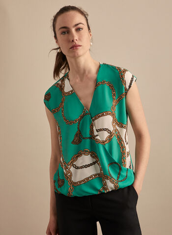 Chain Print Cap Sleeve Blouse, Green,  top, blouse, cap sleeves, chain print, crepe, elastic hemline