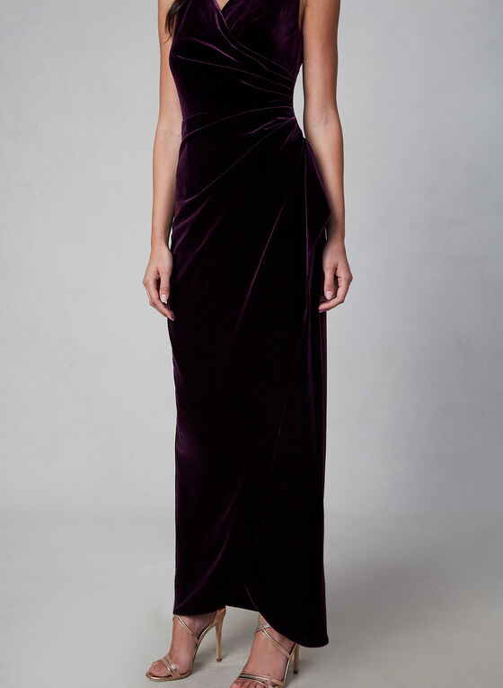Alex Evenings - Robe en velours drapé, Violet, hi-res