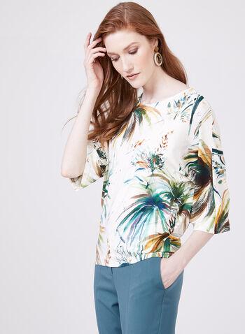 Palm Leaf Print Kimono Blouse, White, hi-res