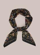 Foulard carré à motif floral, Noir