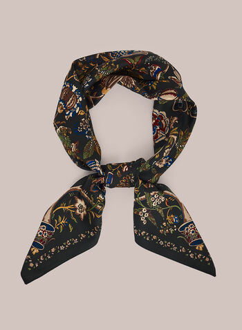 Floral Print Square Scarf, Black,  scarf, square, floral, fall winter 2020