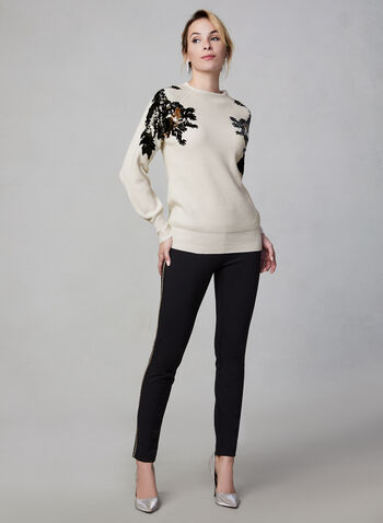 Sequin Detail Sweater, White,  fall winter 2019, sweater, knit, long sleeves, sequin