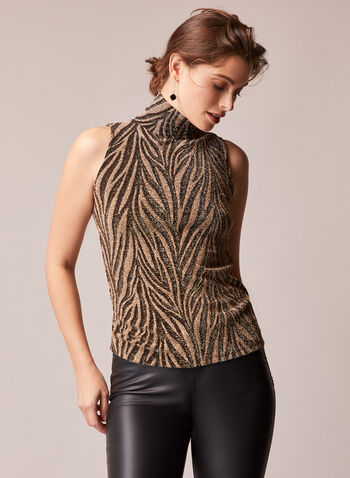 Animal Print Sleeveless Top, Black,  fall winter 2020, top, sleeveless, glitter fabric, shimmer, lurex, metallic, animal print, mock neck, zebra, holiday, holiday 2020, gift