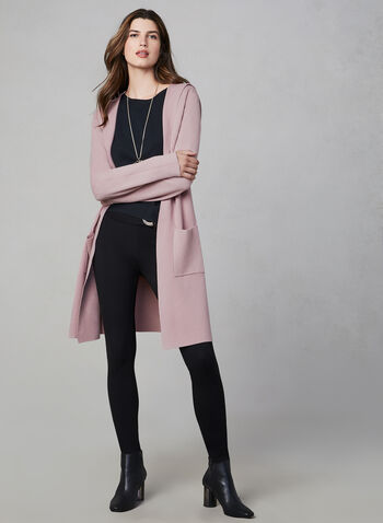 Frank Lyman - Long Cardigan With Hood, Pink, hi-res,  long sleeves, open front, hood, cardigan, patch pockets, knit, fall 2019, winter 2019