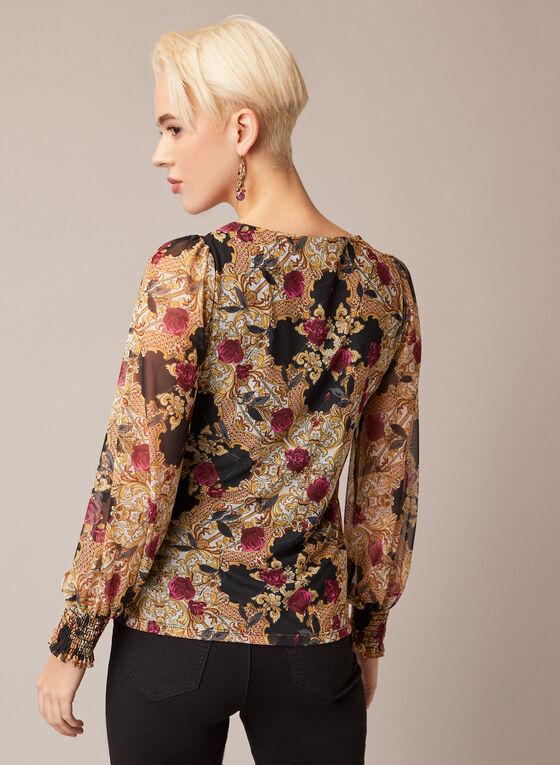 Blouse en maille filet à imprimé baroque floral, Noir