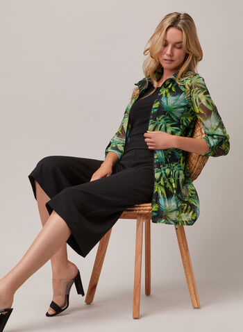 Joseph Ribkoff - Tunique zippée motif tropical, Noir,  haut, tunique, tropical, zip, ceinture, col chemisier, mousseline, printemps été 2020