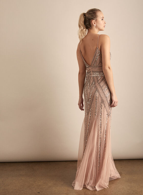 Marina - Embellished V-Neck Gown, Pink