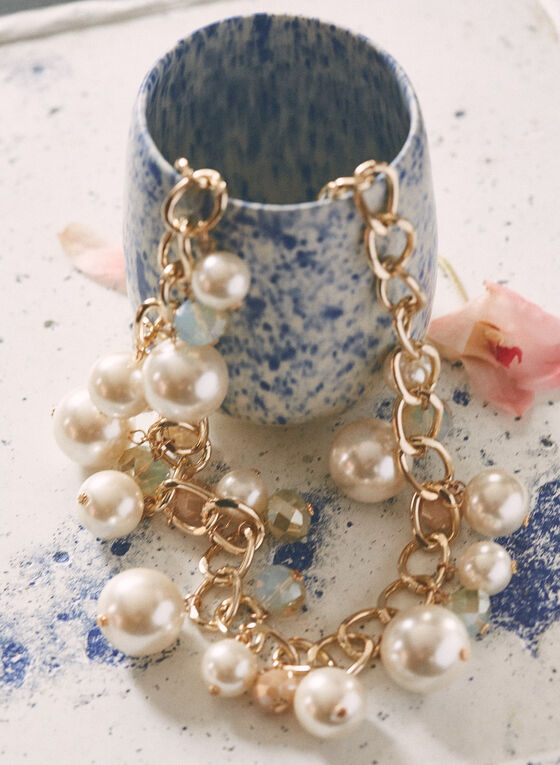Pearl & Chain Necklace, Off White