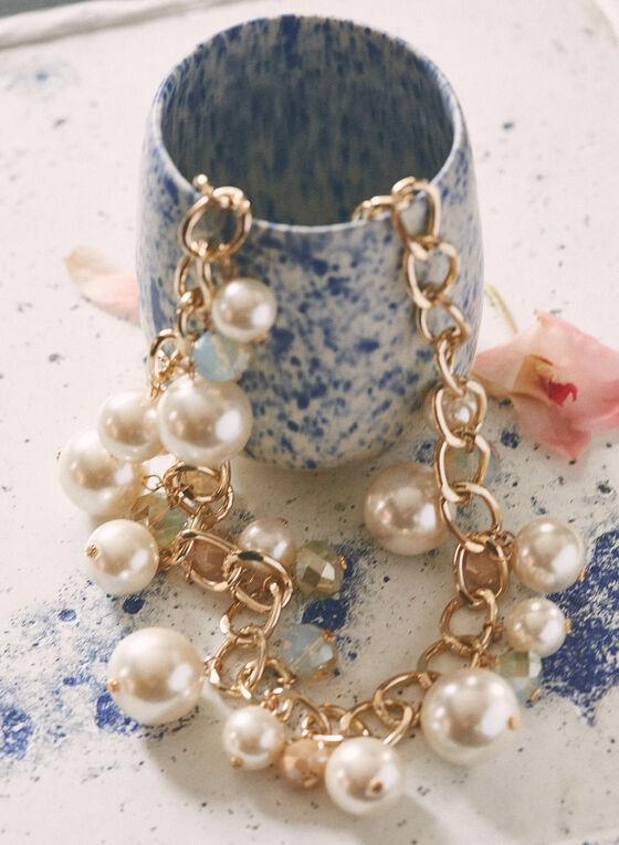 Collier à maillons et perles , Blanc cassé