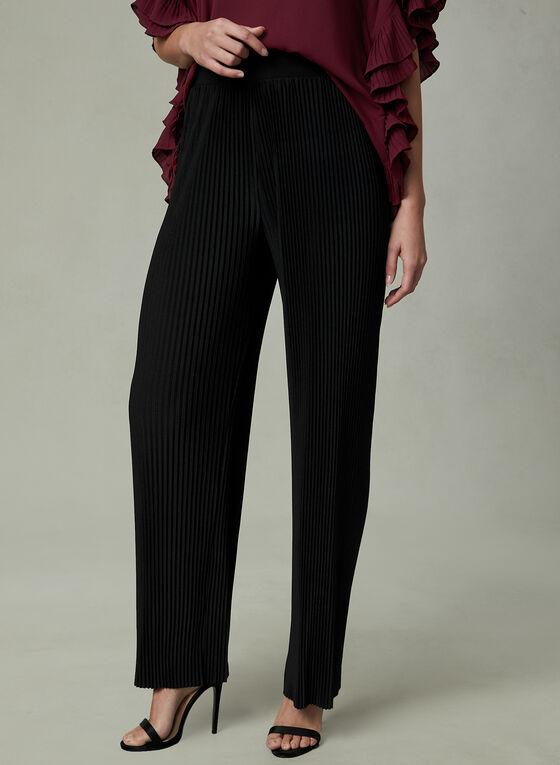 Pleated Wide Leg Pants, Black, hi-res
