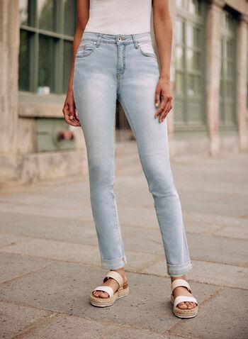 Jean à jambe étroite et ourlet replié, Bleu,  pantalon, bas, jean, taille mi-haute, jambe étroite, bouton, glissière, poches, ourlet replié, denim extensible, printemps été 2021