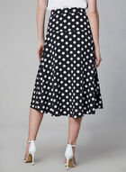 Polka Dot Print Midi Skirt, Black, hi-res