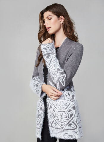Eyelash Open Front Cardigan , Grey,  cardigan, open front, knit, soft, eyelash, print, embroidered, open front, pockets, fall 2019, winter 2019