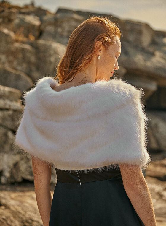 Faux Fur Stole, Off White