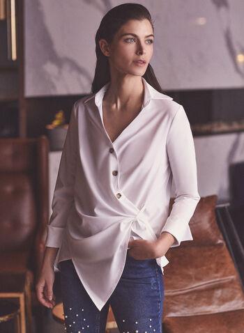Joseph Ribkoff - Blouse asymétrique à boutons , Blanc,  haut, blouse, col classique, manches longues, ribkoff, lyman, boutons, printemps été 2021