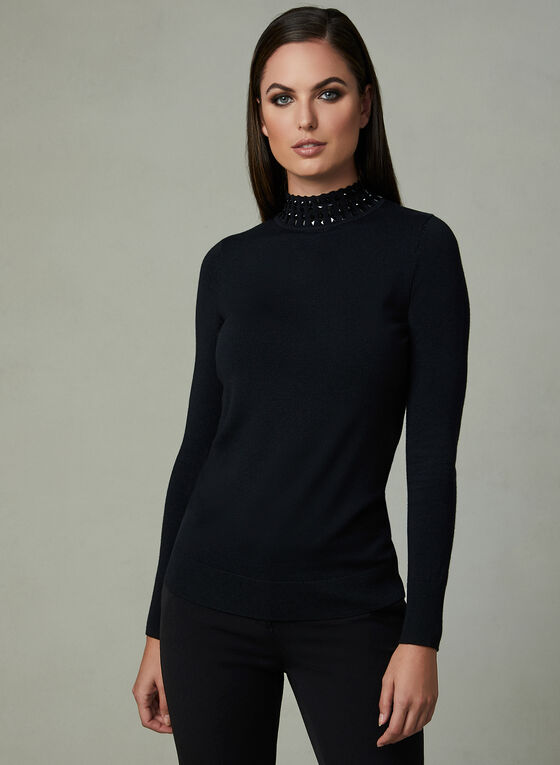 Mock Neck Stone Detail Sweater, Black, hi-res