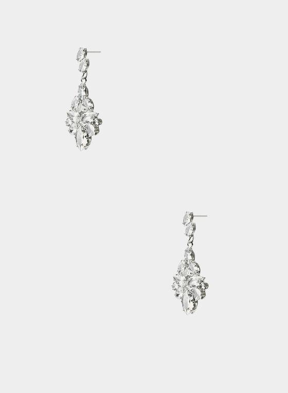 Boucles d'oreilles à pierres multiples, Argent