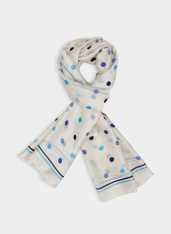 Polka Dot Print Scarf, Blue, hi-res