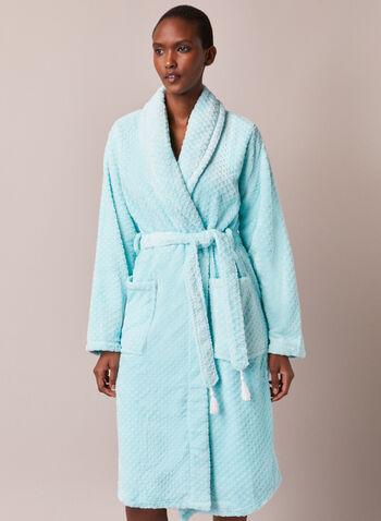 Peignoir texturé en flanelle, Bleu,  automne hiver 2020, pyjama, robe de chambre, peignoir