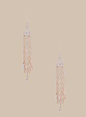 Crystal & Chain Cascade Earrings, Pink,  earrings, cascade, stones, faceted, crystals, metallic, wavy, chain, spring summer 2020