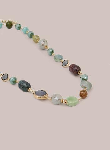 Collier à pierres multicolore, Gris,  automne hiver 2020, collier, pierres, bijou, accessoire, doré