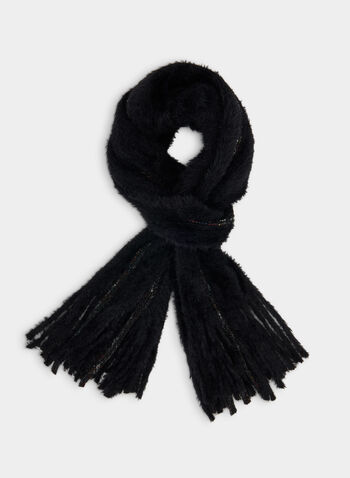Eyelash Knit Scarf, Black,  fall winter 219, fringe trim, scarf